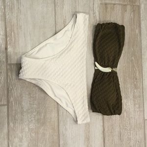 H&M ruched bikini set with white horn charm